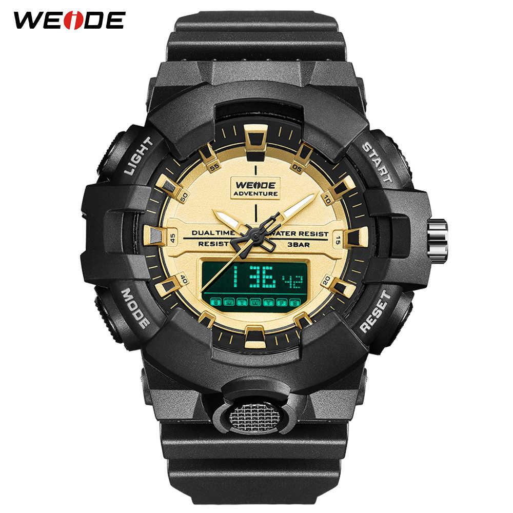 WEIDE אופנה מקרית דגם 50 בר עמיד למים אלקטרוני דיגיטלי שעון מעורר בחזרה אור לוח שנה הכרונוגרף PU רצועת שעון יד
