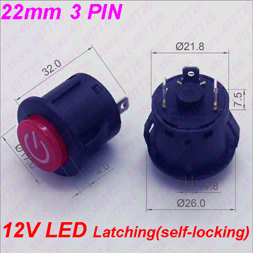 1PC 22MM Power 3PIN Latching/Self locking Glowing Red Plastic Push Button Switch With LED 12V Panel Indication(China)