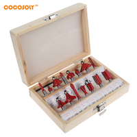 Cocosoly 15pcs 1 4 Professional Shank Tungsten Carbide Router Bit Set Wood Case Tool Kit Milling