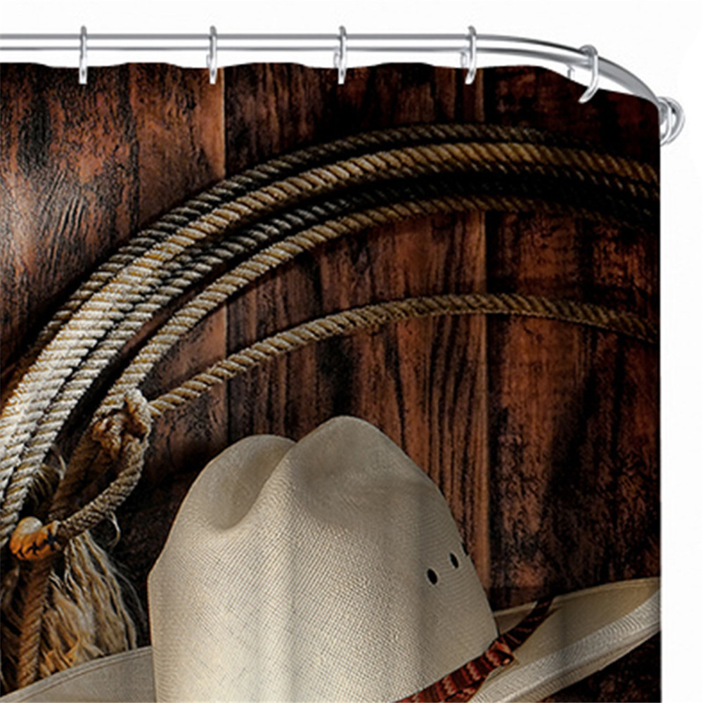 0bc83190896 American West Rodeo Cowboy Shower Curtain Polyester Waterproof Western  Shower Curtain Wood Door Bathroom Decoration 180x180cm-in Shower Curtains  from Home ...