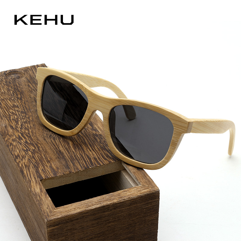 Kehu Retro Bambus Polarisierte Sonnenbrille Klassischen Quadratischen Rahmen Männer Frauen Sonnenbrille Hohe Qualität Bambus Material Uv400 K10036 Sonnenbrillen