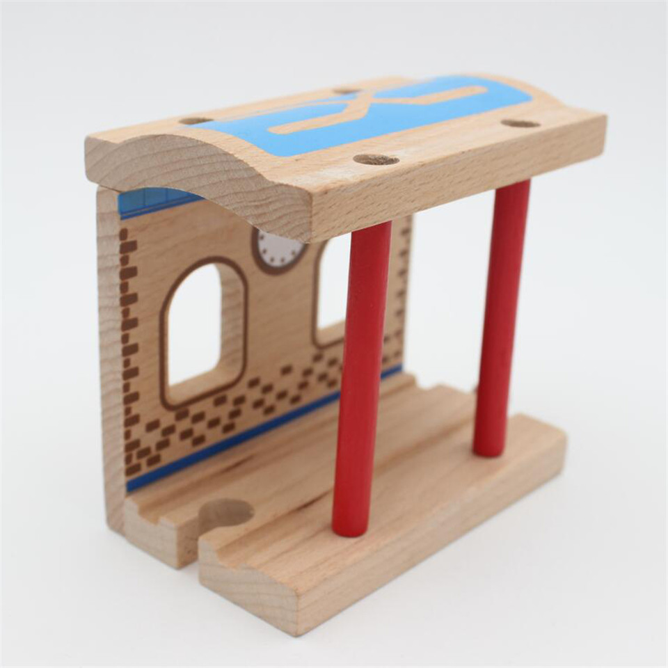TTC96 Station TRACK Wooden Train Scene Track Accessories BRIO Toy Car Truck Locomotive Engine Railway Toys For Children