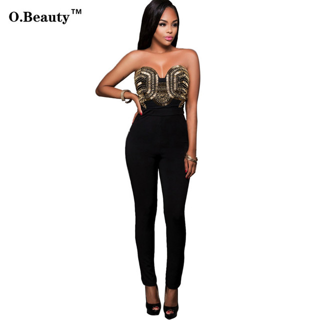 2016 Hot Sale Rompers Womens Jumpsuit Sexy Black White Sequins Elegant Off Shouder Bodysuit For Women Outfits Long Pants