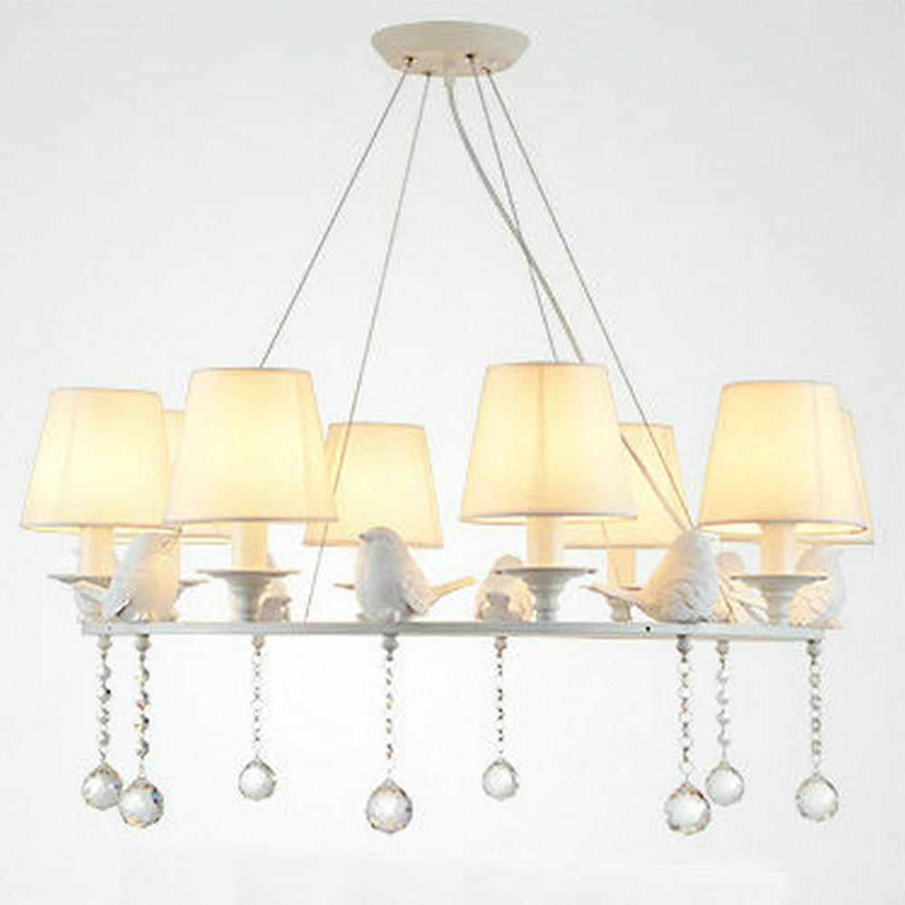 Online get cheap modern white crystal chandeliers aliexpress modern american large white round bird crystal chandelier light white lampshade for living room dining room arubaitofo Gallery