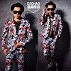 S 5XL 2017 New Men Clothing Singer Fashion Slim DJ Ds Bigbang Alternative Flower Suit Plus