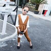 Çocuk giyim Kız Giyim Suit Yeni Desen Kore Üç parçalı Çocuk Bahar Düz Renk Giyim Çocuk Giyim Sıcak