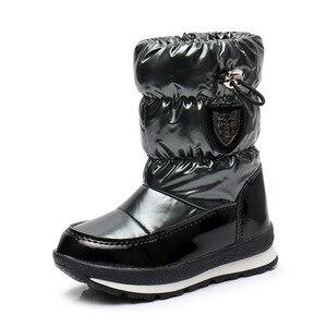 Image 2 - ULKNN Winter Boots For Girls Boys  Kids Boots 2018 New Waterproof Botas Thickening Snow Gold Dark Green 26 27 28 29 30 Size