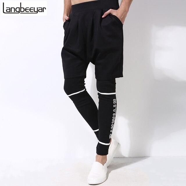Hot 2017 New Fashion Brand Men Pants Men Fake Two Pieces Trend Hip Hop Pants Casual Autumn Pants Letter Print  Trousers M-5XL