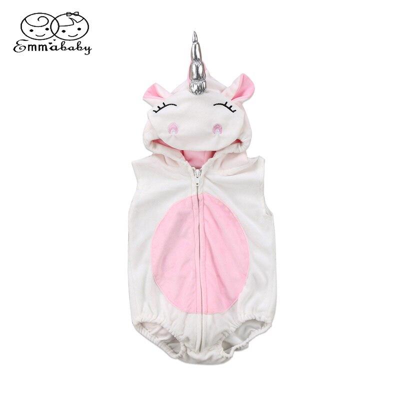 Emmababy 3D Einhorn Baby Kostüm Mädchen Body Zipper Overall Jumper Outfits Mit Kapuze Kleidung