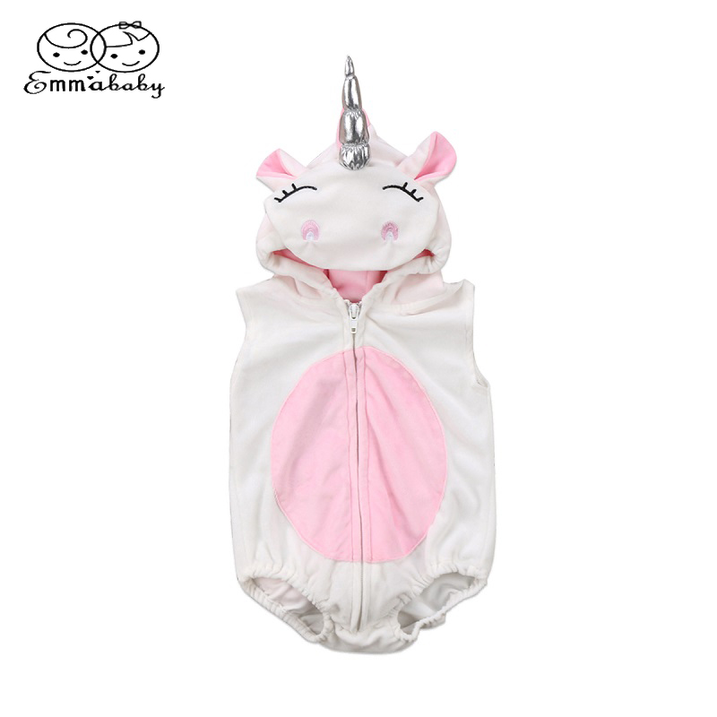 Emmababy 3D Unicorn Baby Costume Girls   Romper   Zipper Jumpsuit Jumper Outfits Hooded Clothes
