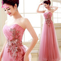 Rendas de Tule Vestido de Baile Rosa/Red Strapless Lace Apliques Plissado vestido de Baile Baratos Vestidos Longos Até O Chão Vestidos