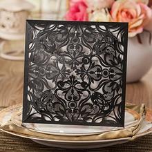1 Satz Design Billige Karte Set Platz Spitze Blume Laser Cut Schwarz  Hochzeitseinladungen Kit Leerseite Einfügen