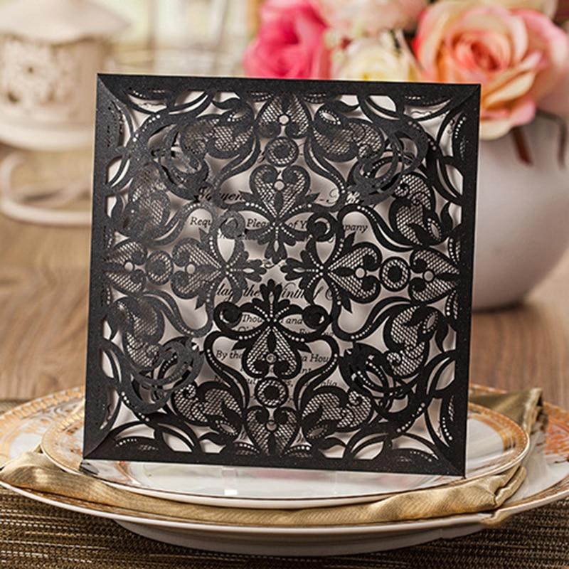1set design cheap card set square lace flower laser cut black wedding invitations kit blank insert