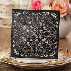 1set design cheap card set square lace flower laser cut black wedding invitations kit blank insert.jpg 250x250