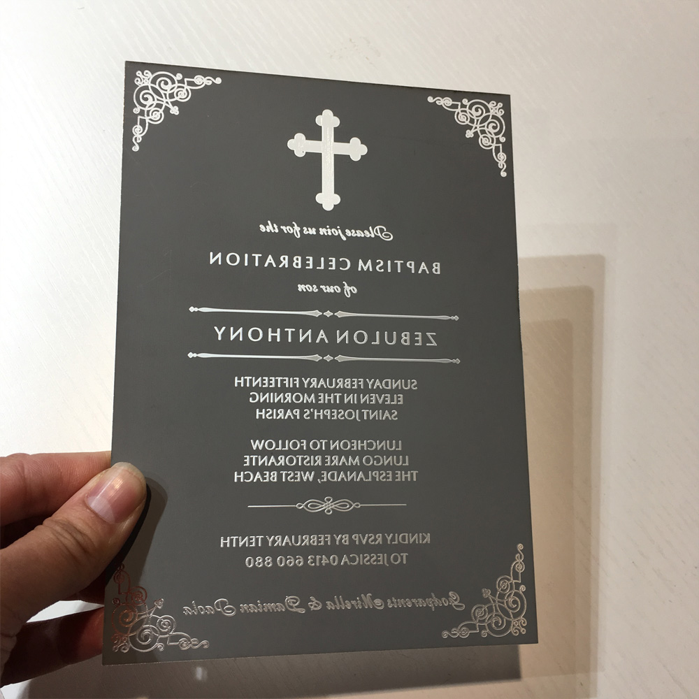 online wedding invite sites%0A Unique  x inch Engraved Silver Mirror Acrylic Christening Baptism Invitaion  Card     Pieces Per Lotin Cards  u     Invitations from Home  u     Garden on