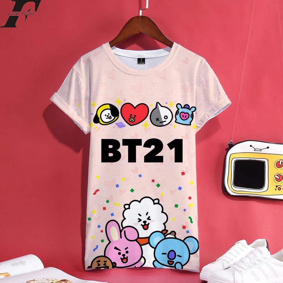 LUCKYFRIDAYF 2018 BTS BT21 Kpop 3D Print Anime Short Sleeve T-Shirt Women Cartoon T Shirt Top Summer Femele Cotton Clothes