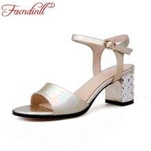 1f13d54b392aa9 FACNDINLL new genuine leather summer shoes woman platfrom sandals gold high heels  women open toe shoes