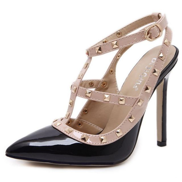 Women Pumps Ladies Sexy Pointed Toe High Heels Fashion Buckle Studded Stiletto High Heel Sandals Shoes Large Size