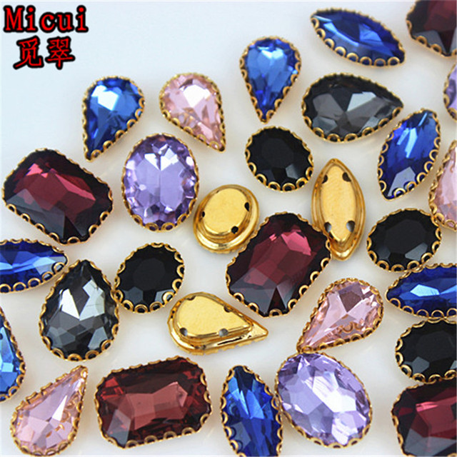 Micui 30PCS mixed shape Glass Sew On with Gold Copper Claw Crystal Sew On Claw  Rhinestone Glitter Strass For Clothes MC736 593b98c8006e