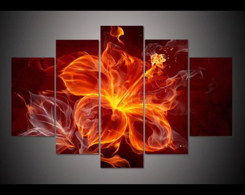 Дешевые 5 панель HD Печатный маслом цветение Огненный Цветок Печать Холст Искусство Home Decor Wall Art картинки для гостиной f0594