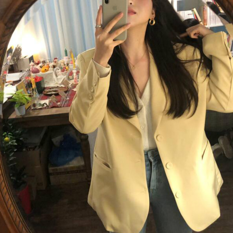 Women Spring Casual Long Blazers Jackets Coat Notched Collar Yellow Chaqueta Mujer Pocket Outerwear Loose Plus Size