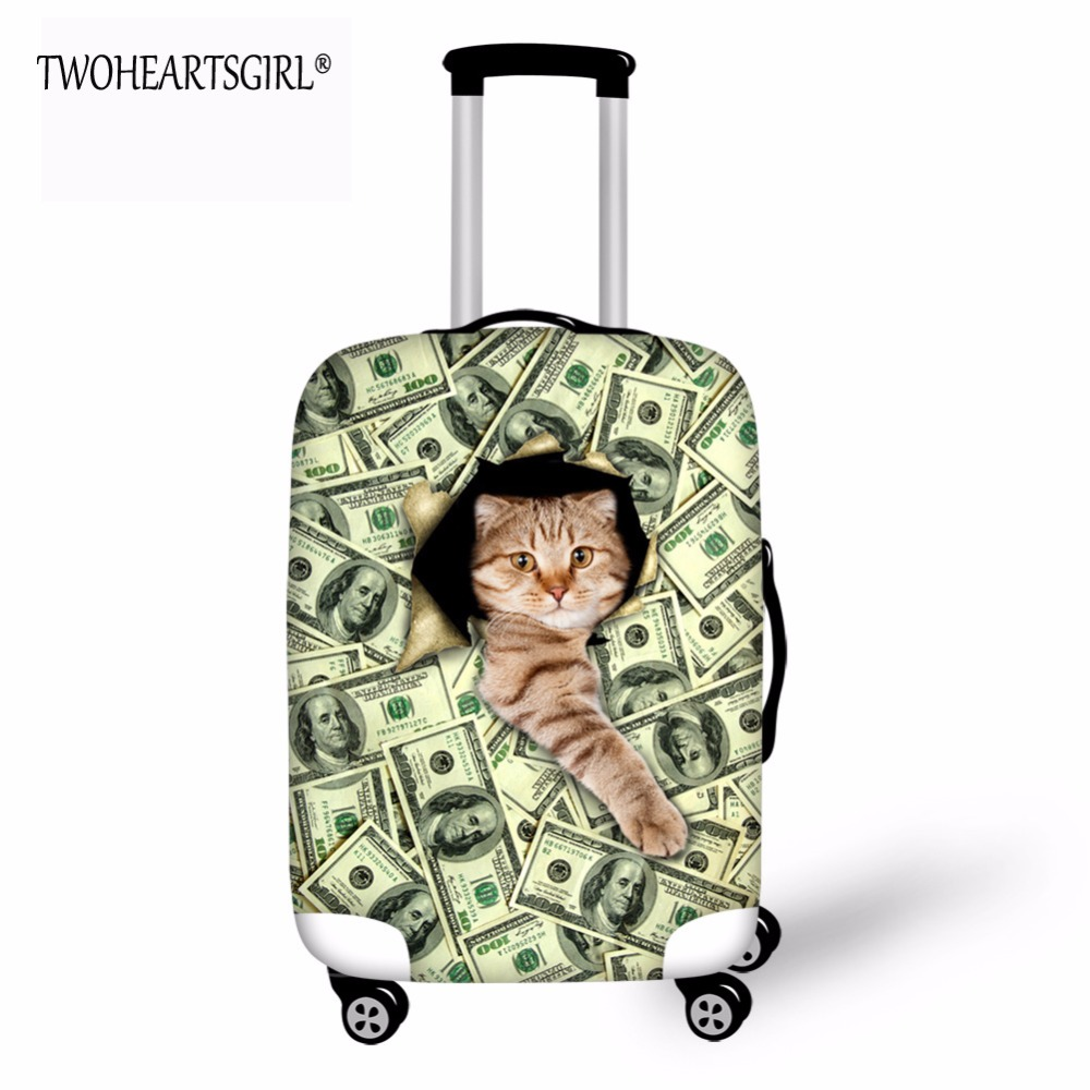 TWOHEARTSGIRL Classic Cat Designer Luggage Protector Cover Waterproof Suitcase Covers Accessory Bags Travel Trolley Case Cover