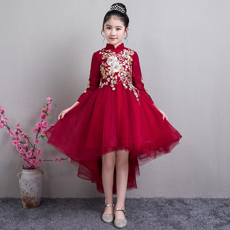 4a1425e1d547b 2019 Autumn Winter New Children Kids Wine-red Chinese Retro Embroidery  Flowers Birthday Party Dress Girls New Year Tail Dress