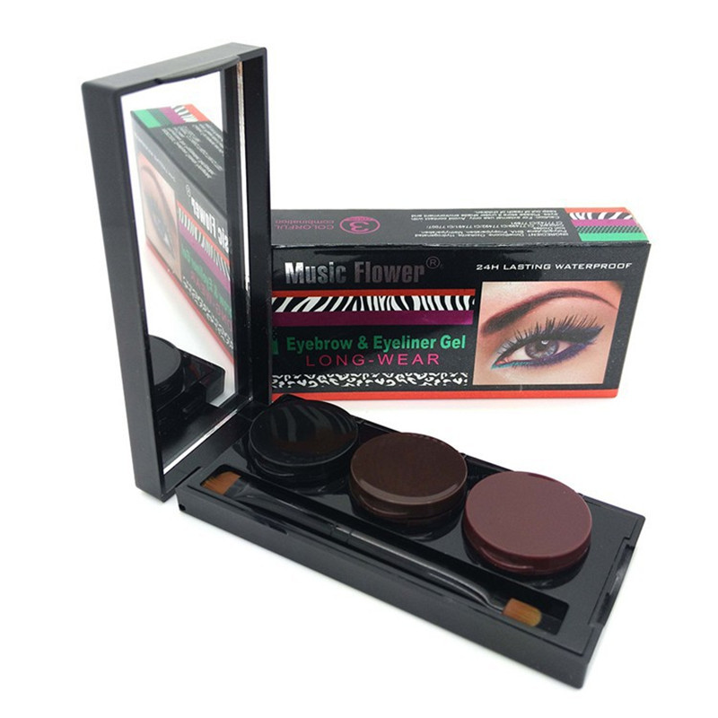 Waterproof Eyeliner Gel & Eyebrow Powder Palette Makeup Cosmetic kit Gel Eye brow Enhancers With Brush 24 Hours Long-lasting