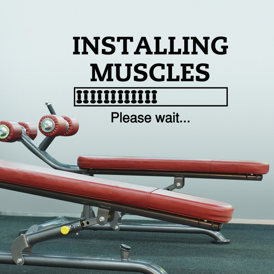 Home Gym Designs For Walls: Sports Quotes Wall Decals Installing Muscles Please Wait