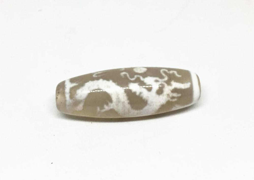 White Color Natural Agate Stone 14mm 40mm Dragon Patterns Amulet Tibetan Dzi Beads for Bracelet DIY