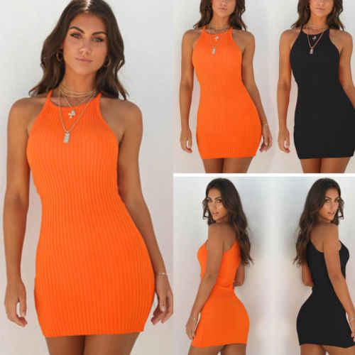 Delle nuove Donne delle Signore Vestiti Sexy di Estate Sleeveless Carro Armato Sottile Mini Corto Lavorato A Maglia Aderente SunDress Arancione Nero
