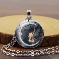 Fee in Mond Foto Halskette Engel Schmuck Crescent Moon Anhänger Glas Cabochon Silber Kette Halsband Neckless für Frauen