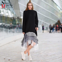 New European Women Black Casual Dress O Neck Full Sleeve Layered Striped Silhouette With Mesh Stylish