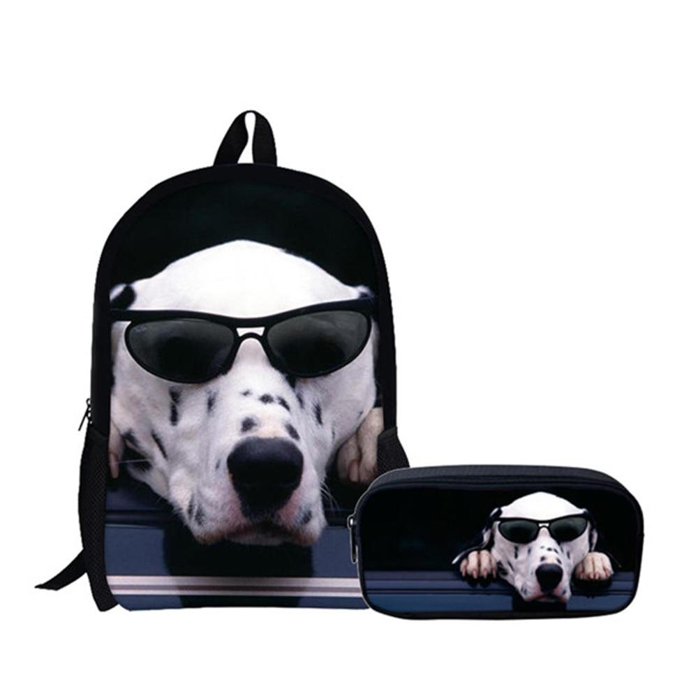 Women Black Backpack Cat Dog Printed Girls Children School Bag Kids Bag Packs For Boys Mochila Female Shoulder Travel Large Bag