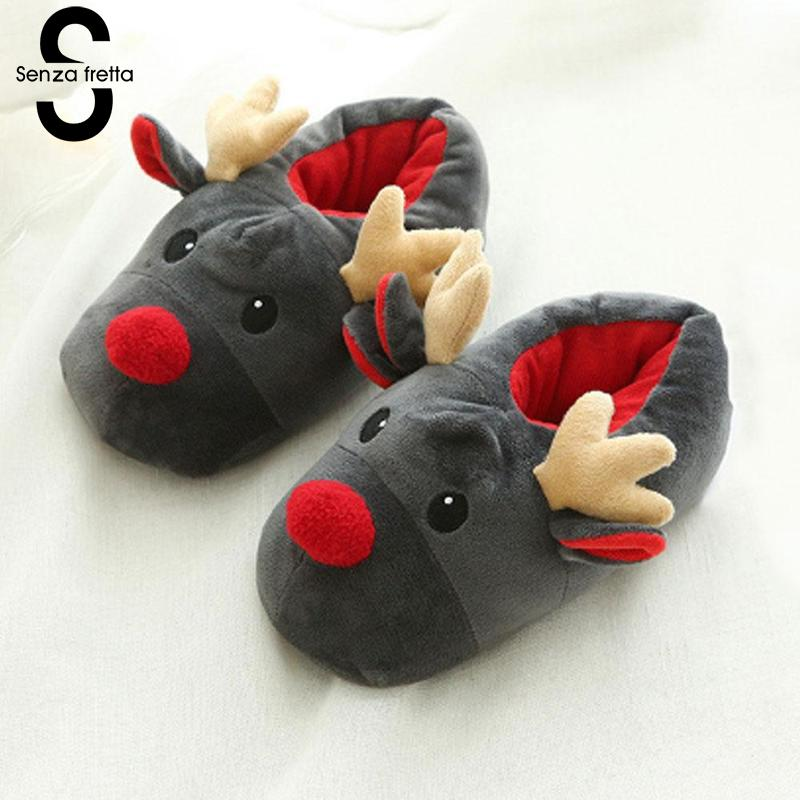 Senza Fretta Women Shoes Christmas Deer Winter Plush Warm Indoor Floor Cotton Slippers Home Slippers Women Christmas Slippers senza fretta winter slippers home warm cotton slippers with bag heel animal pattern plush warm home slippers cute women shoes