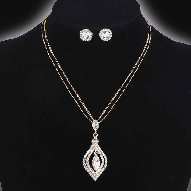 Trendy Water Drop Pendant Necklace Multi-layer Chain Crystal Rhinestone Wedding Jewelry Sets For Women