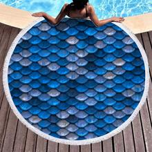 Boho Beach Towels Printed Blue Scales Towel Microfiber Round Fabric Bath For Living Room Home Decorative