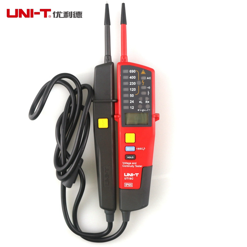 UNI-T UT18C Auto Range Voltage Meter Continuity Tester LCD/LED Indication Date Hold RCD Test No Battery Detection Detector цена