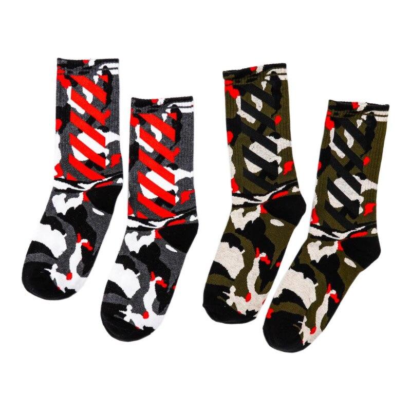 Europe Style Mens Socks Funny Cotton Hip Hop Camo Stripe Art Crew Socks Women Skateboard Casual Alien Streetwear Socks Unisex