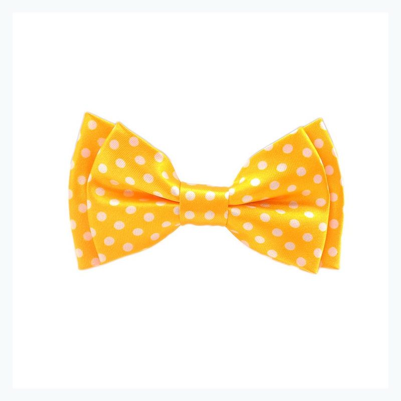 Neon Yellow White Spots Childre Bow Tie Boy's Girl's Kids