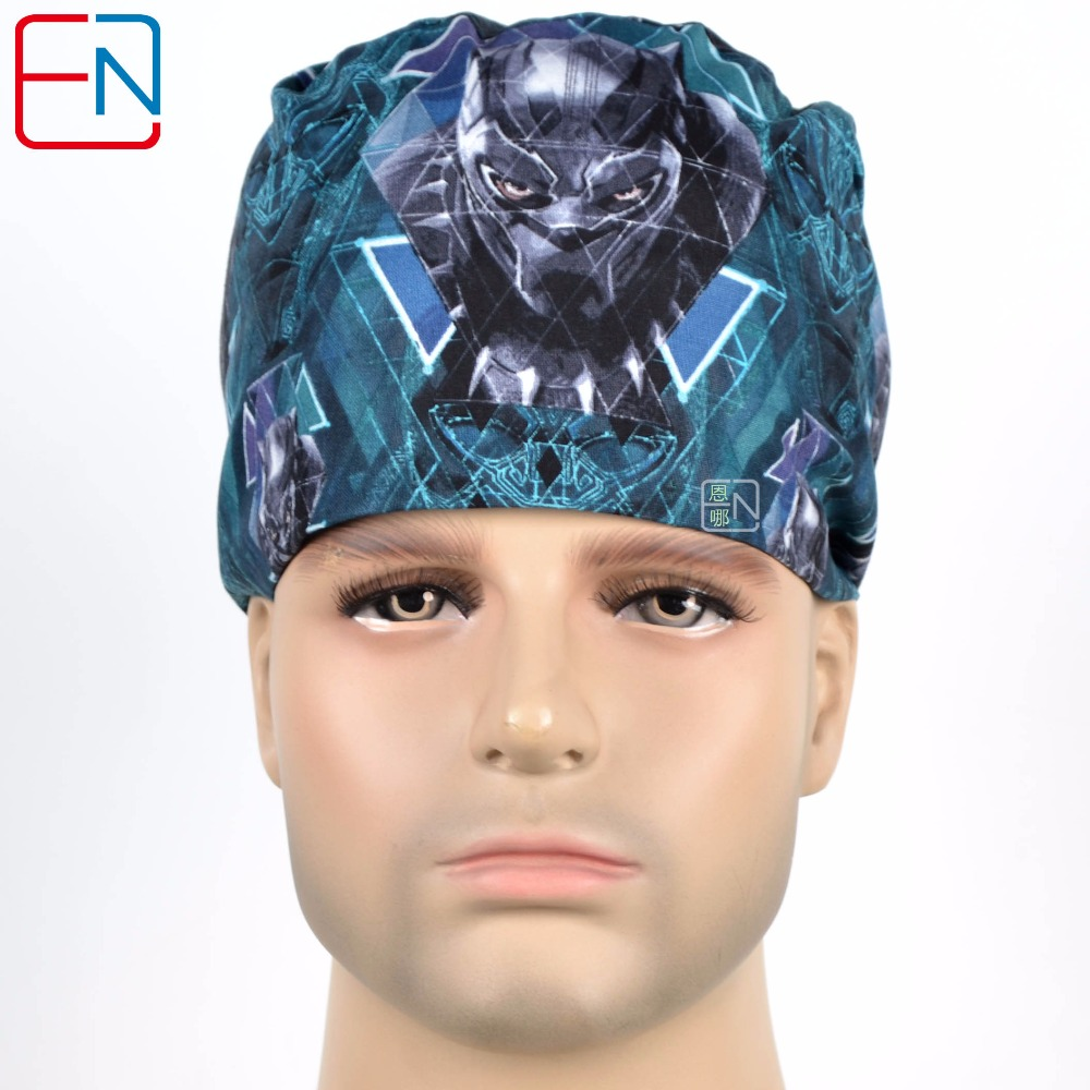Hennar Medical Scrub Caps Men Masks Print Medical Caps Masks 2018 Doctors Nurses Hospital Clinical Cotton Male Hats L08