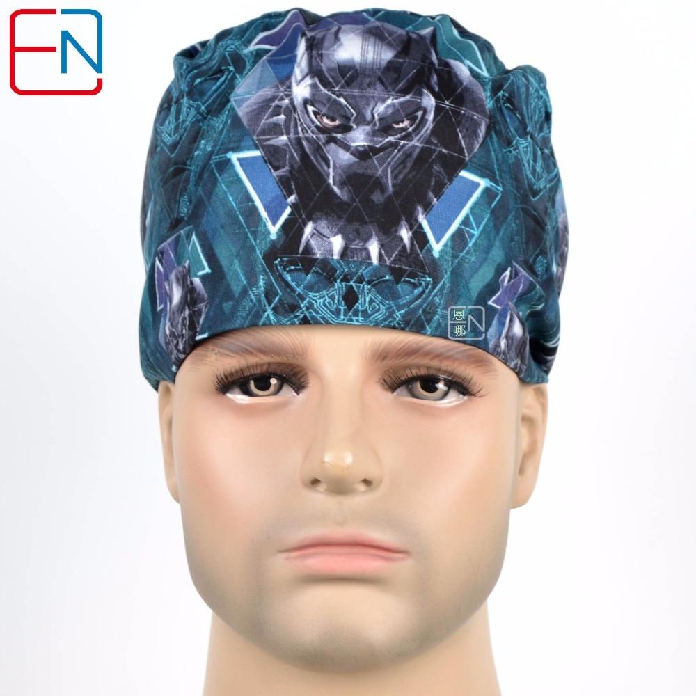 Hennar Medical Scrub Caps Men , Print Medical Caps , 2018 Doctors Nurses Hospital Clinical Cotton Male Hats L08