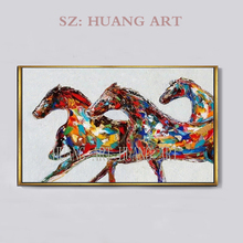 Free shipping high quality animal horse painting abstract modern red knife of handmade oil paintings on canvas