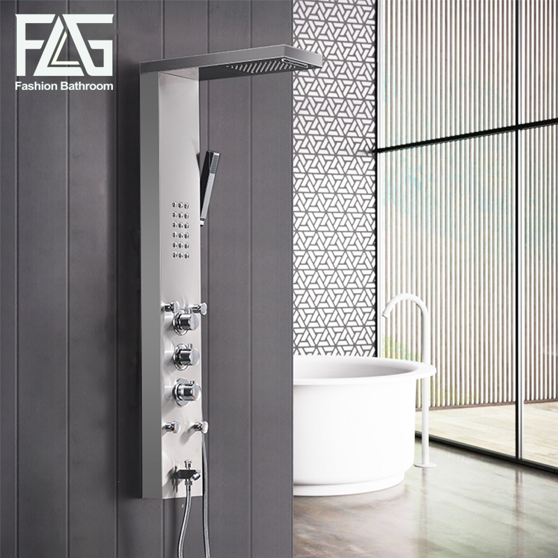 FLG 304SUS Bathroom Thermostatic Rain Shower Panel Brushed ...