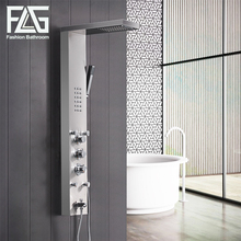 FLG 304SUS Bathroom Thermostatic Rain Shower Panel Brushed Nickel Shower Column Tub Jets Hand Shower Wall Panels  цена 2017