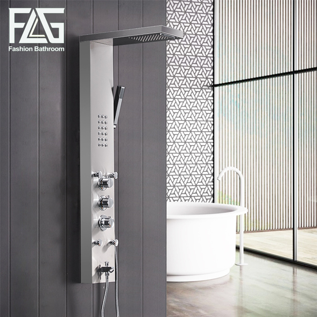 FLG 304SUS Bathroom Thermostatic Rain Shower Panel Brushed Nickel ...