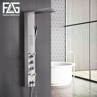 FLG 304SUS Bathroom Thermostatic Rain Shower Panel Brushed Nickel Shower Column Tub Jets Hand Shower Wall
