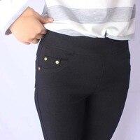 Estilo americano europeo más tamaño M-5XL leggings color puro de alta calidad moda todas correspondan elástico Delgado paquete cadera pantalones F28