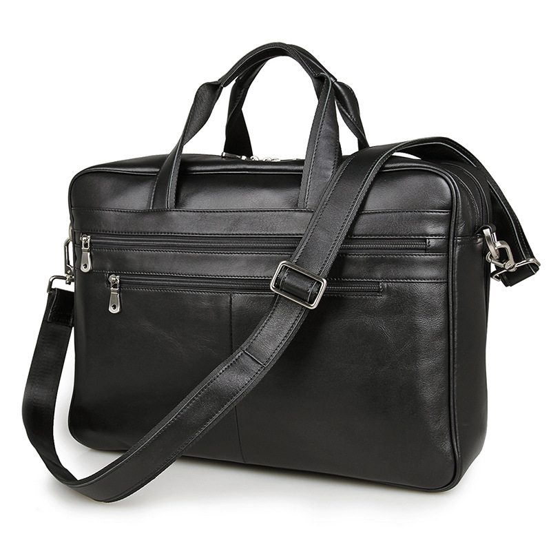 Nesitu Real Skin Black Color Genuine Leather Men Messenger Bags Cowhide Portfolio Man Briefcase 15.6 inch Laptop Bag #M7319