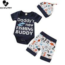 Chivry 3Pcs Newborn Baby Girls Summer Short Sleeve Letter Bodysuit Rompers Tops + Cartoon Shorts Hat Infant Clothing Sets